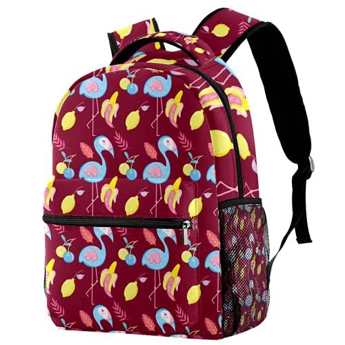Zainetto Punchy Pastello Fenicottero e Frutta, Zaino da viaggio Casual Daypack per donne adolescenti ragazze ragazzi