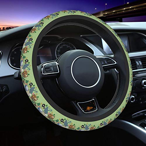 My Neighbor Totoro Men Women Car Steering Wheel Cover,Kawaii Anime Neoprene Car Steering Wheel Covers Anti Slip,Universal 15 Inch Elastic Steering Wheel Wrap Cover,For Most Cars,Suv,Trucks,Van