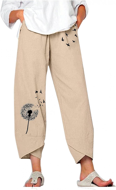 Toeava Capri Pants for Women,Women Loose Casual Print Cotton Linen Comfy Cropped Trouser Capris Crop Pants with Pockets
