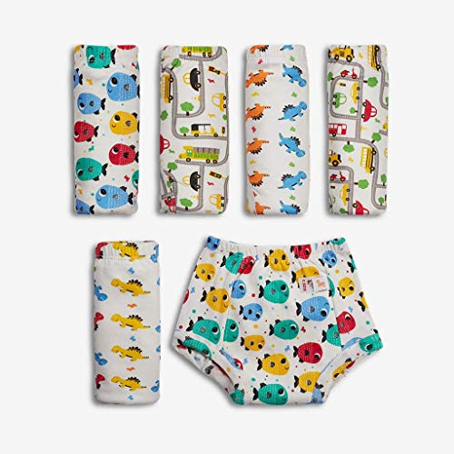 Superbottoms Padded Underwear-Pack of 6- Potty Training Pants for Babies/ Toddlers/ Kids. 100% Cotton,Padded,Semi Waterproof, Pull Up Unisex Underwear Trainers (Size 4, Striking Whites)