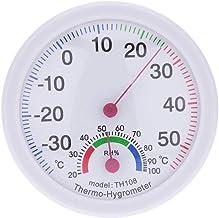 Rekkles Termómetro higrómetro Mini Ronda de medición de la Pared Interior al Aire Libre de Temperatura montado Gauge Medidor de Humedad en Forma de Reloj-