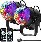 Luces de fiesta activadas por sonido con control remoto Iluminación de DJ, bola de discoteca RBG, lámpara estroboscópica 7 modos de luz de escenario para fiestas de baile en casa, DJ, 2 unidad