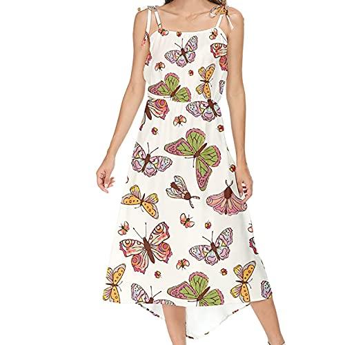 AMhomely Vestido de verano para mujer con estampado de línea A, con cuello en V, manga corta, vestido de fiesta, elegante, vestido casual de playa, vestido