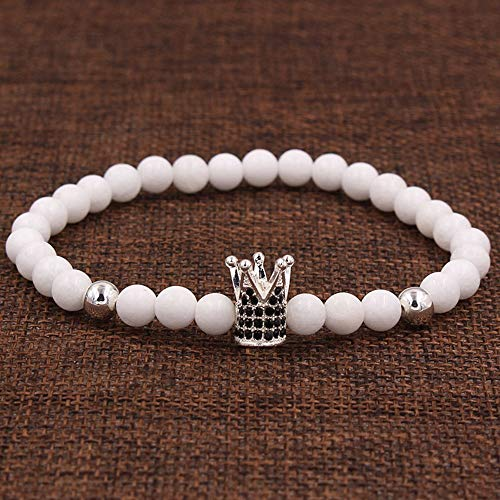 LLXXYY Stenen armband, natuursteen koper 6 mm ruw zilver kroon armband elastisch touw zwart trendy armband mannen vrouwen party strand paar geschenk