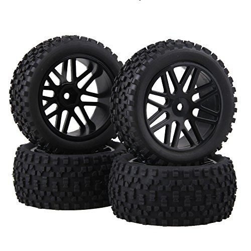 BQLZR Front and Rear (66016-66036) Wheel Rim Rubber Tires for RC 1:10 Off-Road Car Pack