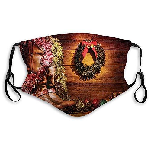Máscara de tela reutilizable y transpirable para pasamontañas, diseño de país con botas de vaquero y celebraciones de Navidad en una cabaña vintage, talla de adultos: M