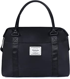 Unisex Large Travel Weekender Bag Overnight Duffle Bag Gym Tote Bag in Trolley Handle