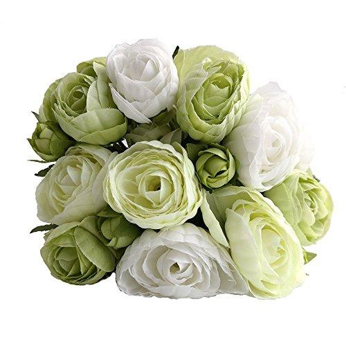 simoce Künstliche Blumen 10 Köpfe persische Buttercup Crowfoot Ranunculus Hochzeit Braut Hand gebunden Blumenstrauß Heimdekoration Seide Lustring Fake Decor Blumen 7,9H x 6,3W Zoll Weiß-grün