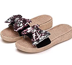 Thick Pink Sequin Flax Bowknot Slip On Sandals
