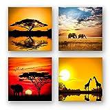 Afrika Set A schwebend, 4-teiliges Bilder-Set jedes Teil