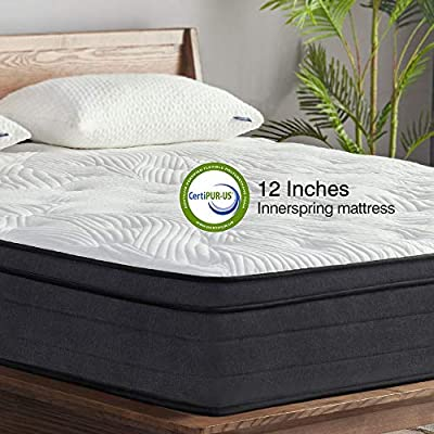 Sweetnight King Mattress in a Box - 12 Inch Plush Pillow Top Hybrid Mattress, Gel Memory Foam for Sleep Cool, Motion Isolating Individually Wrapped Coils, King Size, Twilight