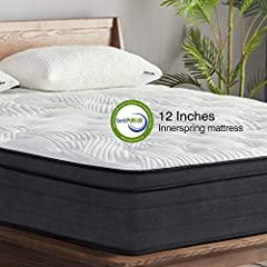 Motion isolation for a peaceful undisturbed sleep- sweetnight 12 inch king mattress constructed with coils individually wrapped innerspring and gel memory foam for ultimate support, pressure relief helps those with back pain, tossing & turning. It mo...