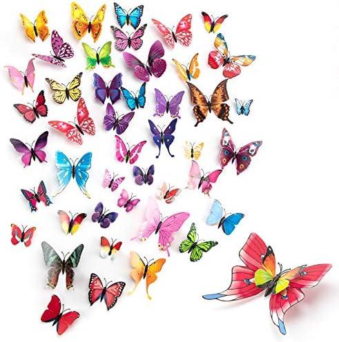 MOZUVE 120pcs Butterfly Wall Decor Removable 3D Butterfly Wall Decals Butterflies Decoration product image