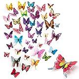 120pcs Butterfly Wall Decor, Removable 3D Butterfly Wall Decals, Butterflies Decoration Suitable for DIY Kids Nursery, Bedroom Decor, TV Wall, Wedding, Birthday etc