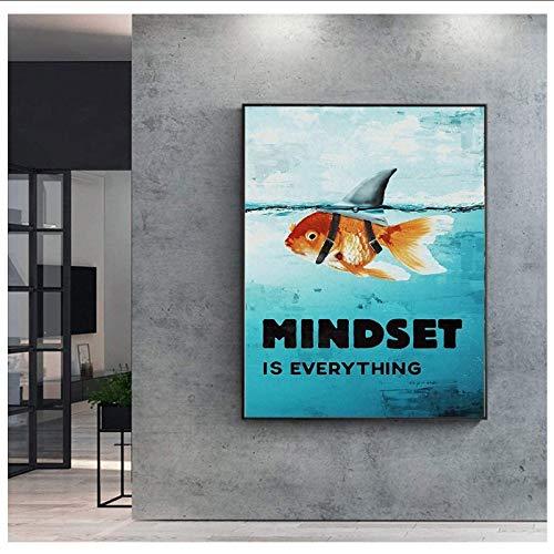 Crazystore Leinwanddruck 60x80cm ohne Rahmen Mindset is Everything Shark Fish Pictures Motivierendes nordisches Poster für Wohnkultur