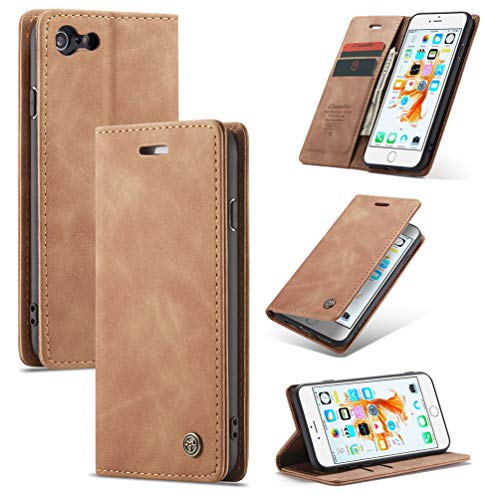 ToneSun Funda para iPhone 6 / iPhone 6S, piel con tapa y billetera, funda para teléfono móvil multifunción, funda para cartera – marrón