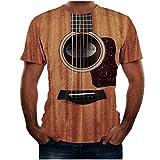 Camisetas Estampada 3D Verano Moda Camiseta de Manga Corta Impresa en para Hombre Cómodo Casual Top con Cuello Redondo T Shirt con Estampado de Guitarra de Moda Caqui S