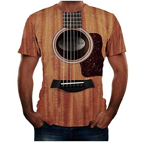 PPangUDing T-Shirts Unterhemd Herren Persönlichkeit Neuheit Sommer Kurzarm Rundhals 3D Digitaldruck Regular Fit Henley Shirt Pullover Sweatshirt Oberteil Blouse