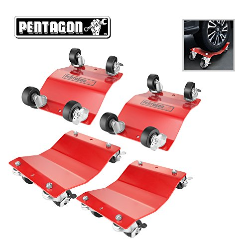 Pentagon Tool 83-DT5497 Red Commercial Grade 4-Pack Dolly-Tire Skates | 1,500 lbs Rating, 4 Pack, 4 Count