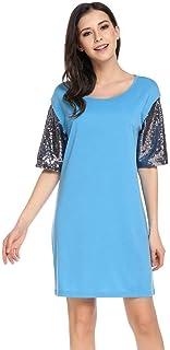 Chigant Keliqq Women's Sequins Short Sleeve Crew Neck Casual Summer T-Shirt Dress Navy Blue