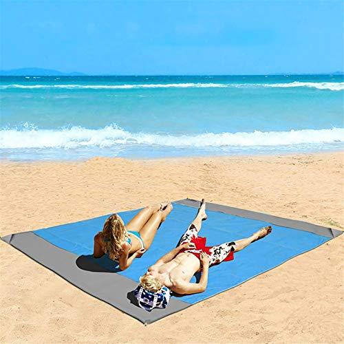Eastjing 208,3 x 200,7 cm Sandfreie Stranddecke, wasserabweisend & sanddicht, weiche 70D Ripstop-Nylon Tasche Picknickdecke mit 4 Heringen für Reisen, Camping, Wandern und Musik