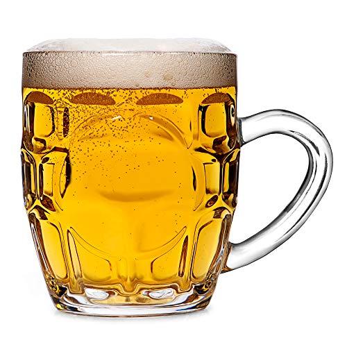 Bar@drinkstuff - Set di 4 boccali da birra tradizionali con finestra, 285 ml