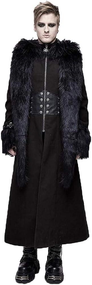 Devil fashion Plus Size Winter Coats for Men Fluffy Hat Demo Zippered rain Long Overcoats Trench for Men