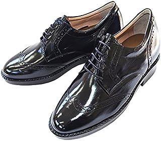 [北嶋製靴工業所] シークレットシューズ ビジネス 7cmアップ ウイングチップ 国産 カンガルー革 外羽根 メダリオン 232 メンズ
