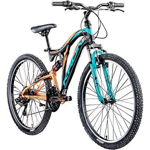 KRON Mountainbike Fully 26 Zoll Jugendrad Fahrrad Ares 3.0 MTB 21 Gänge Rad ATB (schwarz/orange/türkis, 24 cm)
