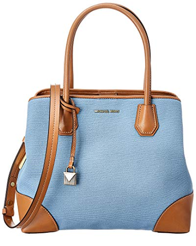 Michael Kors Mercer Gallery Canvas Center Zip Tote Deep Blush, Powder Blue, One Size, Large