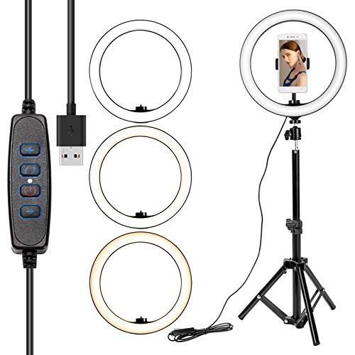 ZITFRI Anillo de luz LED 10', 3 Modos Aro de Luz con Trípode, 10 Brillos Regulable a 6500K, con Soporte de Teléfono para Movil Selfie, Fotografía, Maquillaje, TIK Tok, Youtube, Transmisión en Vivo