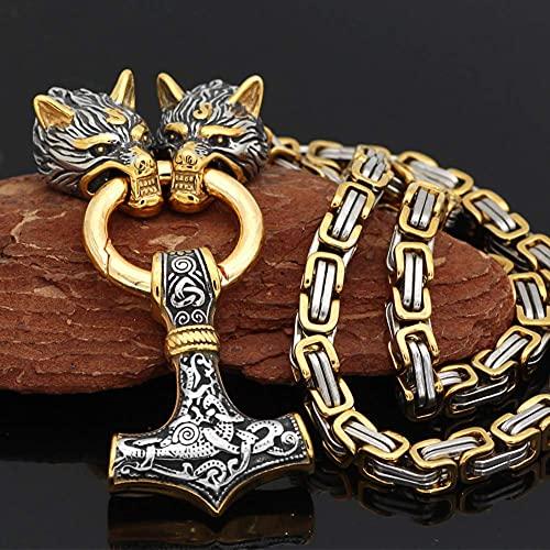 AMOZ Collar con Colgante de Martillo Vikingo Thor para Hombre, Joyería de Amuleto Pagan Fashion de Mitología Nórdica Vintage con Cadena de Rey de Cabeza de Lobo de 7 Mm,Oro Mixto,Los 70Cm