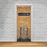 Wallflexi Door Mural Kings Cross Platform 9.75 Home Decoration Wall Art Murals Decals living Room Nursery Restaurant Hotel Café Office Décor Removable Self-Adhesive Stickers, multicolour