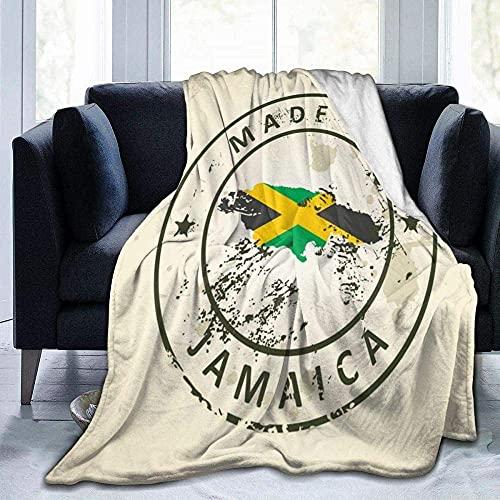 Mantas para sofá cama manta sello con bandera de mapa Jamaica manta de salón/dormitorio/sofá cálido viaje super mullido manta de cama sólida para niños adultos en todas las estaciones de 156 x 150 cm