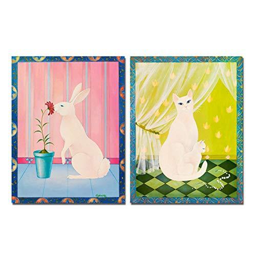 zhaoyangeng Dierenafbeelding op de muur, poster, wandkunst, canvas, schilderijen, wit konijntje, schattige kat, decoratie voor thuis, 60 x 80 cm x 2 geen lijst