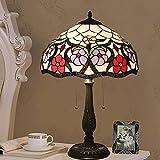 15.75 pulgadas de estilo Tiffany Lámpara de mesa, vitrales púrpura rojo rosa flor de lámparas barrocas lámparas de escritorio al lado de la lámpara para la sala de estar del dormitorio, interruptor de