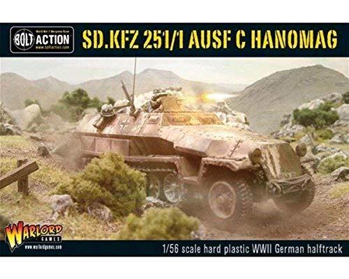 Bolt Action Sd.Kfz 251/1 Ausf C Hanomag Half Track 1:56 WWII Military Wargaming Plastic Model Kit
