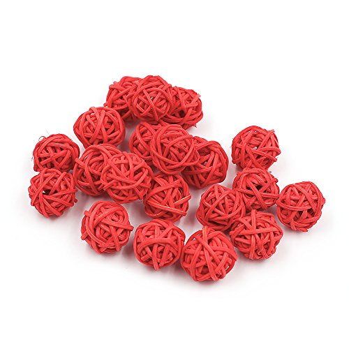 Zhi Jin 30 Stks Mini Natuurlijke rieten Rotan Ballen Tafel Bruiloft Party Ophangen Wobble Ball Decoratieve 2 cm