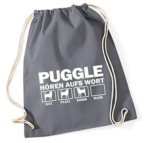 Siviwonder Turnbeutel - PUGGLE Designerhund Beagle Mops Mix - HÖREN AUFS WORT Baumwoll Tasche Beutel grau