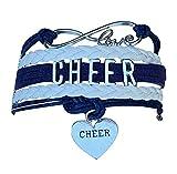 Cheer Charm Bracelet- Girls Infinity Love Adjustable Cheerleading Jewelry in Team Colors For Cheerleader (Navy/White)