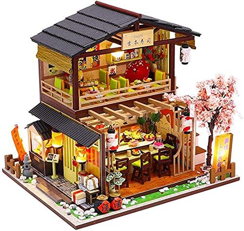 CZFSKCZ Miniatura Casa delle Bambole DIY Miniature Dollhouse Kit di Legno con LED a Prova di Polvere e Il Movimento della Musica Creativo Compleanno Regali di Natale per Bambini e Adulti