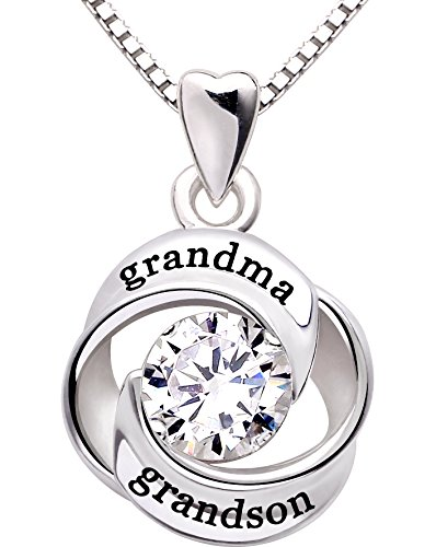 ALOV Jewelry Sterling Silver grandma and grandson Love Heart Cubic Zirconia Pendant Necklace