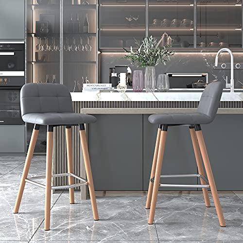 ModernLuxe - Juego de 2 taburetes de bar de piel sintética para el desayuno, la cocina, el mostrador de la barra, las patas de madera en la naturaleza, color gris, Gris, 2 PC
