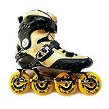 WENLI Patines en línea ajustables de fibra de carbono Patines en línea Patines profesionales para adultos y niños, zapatos de patinaje deslizante Slalom (color: amarillo, talla de zapato: 38)