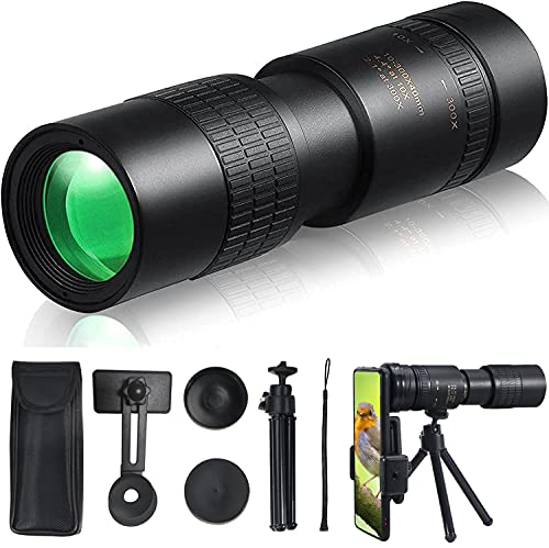 Paddsun Telescopio monocular 4K 10-300X 40 mm, resistente al agua, antivaho y antigolpes, HD, con soporte para smartphone y trípode, para observación de aves, camping, caza, concierto.