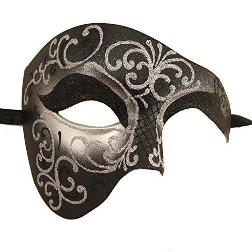 XVEVINA Unisex Maske Phantom der Oper Kostüm Maskerade Maske - Schwarz - Einheitsgröße
