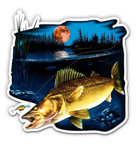 "GT Graphics Walleye Fishing - 3"" Vinyl Sticker - for Car Laptop I-Pad Phone Helmet Hard Hat - Waterproof Decal"