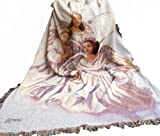 Manual Woodworkers & Weavers Inspirational Collection Tapestry Throw, Angelic Trio, 50 by 60-Inch
