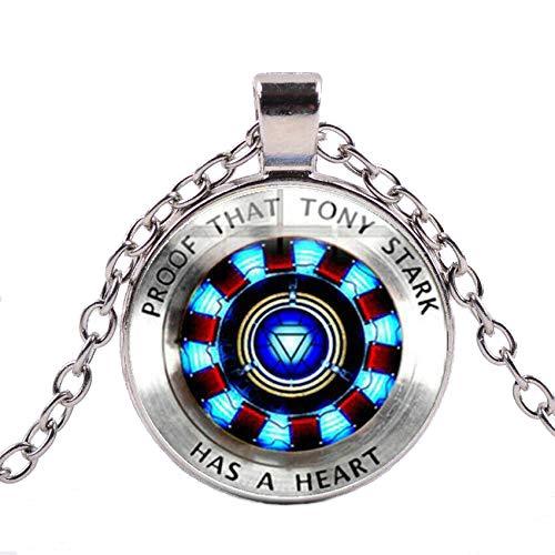 ZUWEI WU ARC Corazón Iron Man Collar Tony Stark Colgante Cristal Reactor Plata