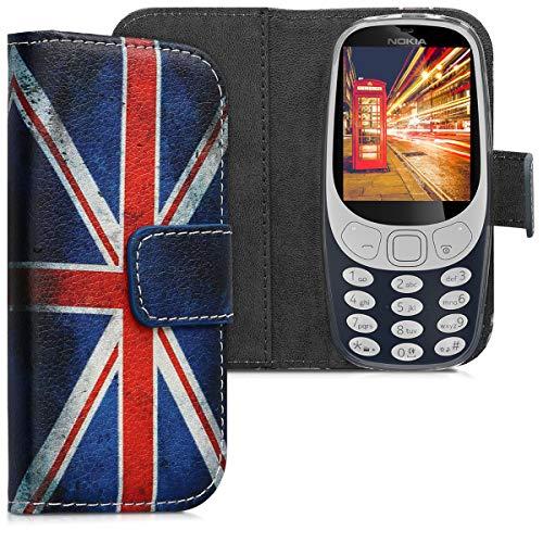 kwmobile Nokia 3310 3G 2017 / 4G 2018 Hülle - Kunstleder Wallet Case für Nokia 3310 3G 2017 / 4G 2018 mit Kartenfächern & Stand - Retro Flagge Großbritannien Design Rot Weiß Blau